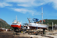Old boats. Under repair and renovation Royalty Free Stock Photography