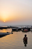 Old Boats in Varanasi. Old Boats for tourists in Varanasi Royalty Free Stock Photography