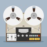 Old bobbin tape recorder. Vintage Analog Reel Tape Recorder. Original Vintage Analog Reel Tape Recorder. Retro technologies vector illustration