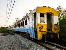 Old bogey of retired train park at the inactive railroad royalty free stock images