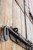 Old bold on a wood door Royalty Free Stock Photography