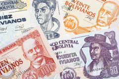 Old Bolivian money. A background Royalty Free Stock Photos