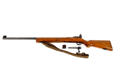 Old bolt action rifle isolated. On white background Stock Photo