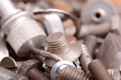 The old bolts, screws and metal details close up Royalty Free Stock Photography