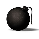Old bomb with the fuse intact on white background Stock Images