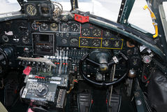 Old bomber cockpit stock photos