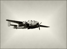 Old bomber in flight Royalty Free Stock Photography