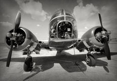 Old bomber front view Stock Image