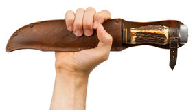 Old bond handle knife in leather casing Royalty Free Stock Images