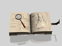 Old Book. A digital rendering of an old book with magnifying glass Royalty Free Stock Image