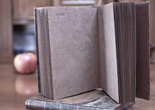Old book. Open notebook on the table Royalty Free Stock Images