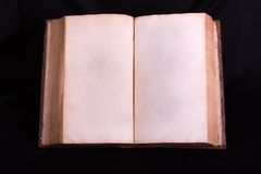 Old Book. Open 1700's style hard bound book with blank pages Stock Photo