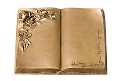 Old book. Isolated Old bronze book opened at the middle (just add your advertisement Stock Images