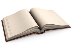 Old Book. Open antic book with empty pages isolated over a white background Stock Photos
