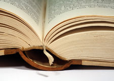 Old book. Opened at the bookmark royalty free stock images