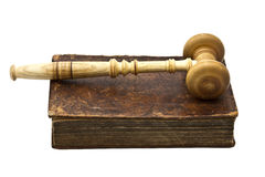 Old Book And Gavel Stock Photo