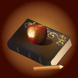 An old book, an apple and a pencil. Stock Photo