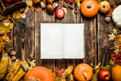 Old book with autumn fruits and vegetables. Stock Images