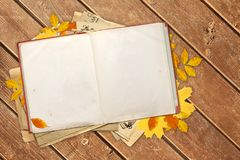 Old book and autumn leaves on wooden boards Stock Images