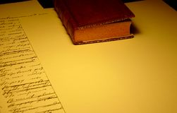 Old book with blank and filled paper sheets royalty free stock photography