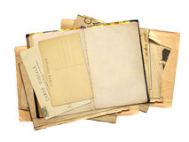 Old book with blank page and vintage post card Royalty Free Stock Photo