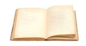 An old book with blank yellow stained pages Stock Image