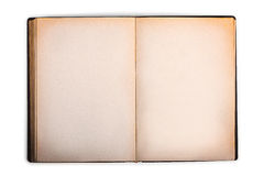 Old book with blank yellow stained pages Stock Photo