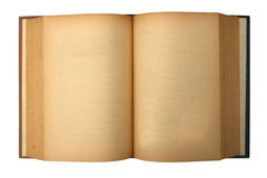 Old book with blank yellow stained pages Royalty Free Stock Images