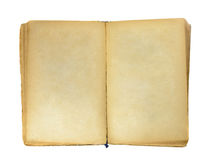 Old book with blank yellow stained pages. Isolated on white Royalty Free Stock Image
