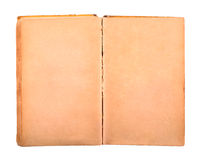 Old book with blank yellow stained pages Stock Image