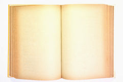 An old book with blank yellow stained pages Royalty Free Stock Photos