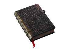 Old book. Brown old book in hardcover royalty free stock photo