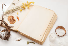 Old book and a bunch of dried herbs on white background Stock Images