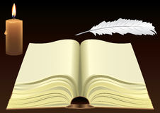 Old book, candle, feather Royalty Free Stock Photos