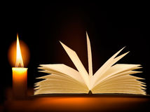 Old book and a candle. Vector. Stock Image