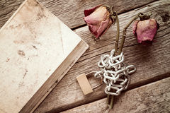 Old book and  chained roses Stock Images