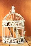 Old book in closed decorative cage, on wooden table. Royalty Free Stock Photo