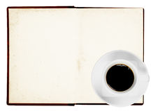 Old book with coffee Stock Photography