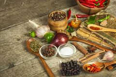 Old book of cookery recipes. Culinary background and recipe book with various spices on wooden table. Royalty Free Stock Photography
