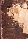 Old book cover texture, brown leather and paper Stock Photos