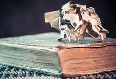 Old book and crumpled page Royalty Free Stock Photography