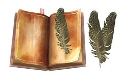 An old book with deteriorated pages and some feather bookmarks stock images
