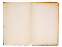 Old book double page. Open old book isolated over white background Stock Image
