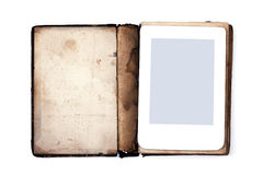 Old book and ebook isolated on white background Royalty Free Stock Photography