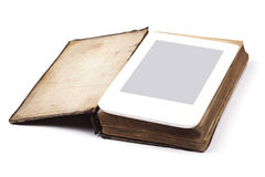 Old book and ebook isolated on white background Stock Image