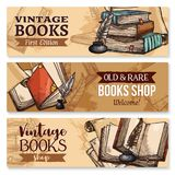 Old book with feather pen and inkwell banner set Stock Photography