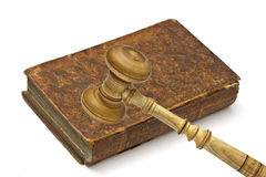 Old book and gavel Royalty Free Stock Photography