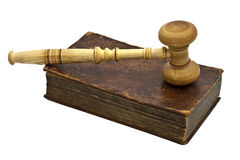 Old book and gavel Royalty Free Stock Photo