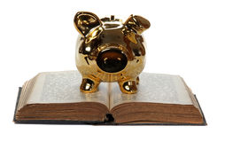 Old book with golden piggy bank Royalty Free Stock Photo