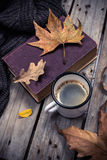 Old book, knitted sweater with autumn leaves and coffee mug Stock Image